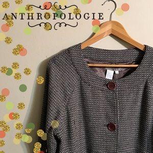 Anthropologie Tweed Brown & Tan Duster Coat